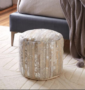 Trends - metallic woven leather pouf